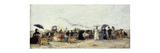 Trouville, Beach Scene Premium Giclee Print by Eugène Boudin