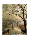 A Moonlit Stroll, Bonchurch, Isle of Wight Giclée-tryk af John Atkinson Grimshaw