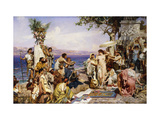 Phryne at the Festival of Poseidon, God of the Seas Giclée-tryk af Siemiradzki Henryk