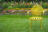 Santa Fe Flower Garden with Vintage Yellow Chair Plastic Sign Plastic Sign