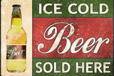 Ice Cold Beer Sold Here Plastic Sign Placa de plástico