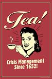 Tea Crisis Management Since 1652 Funny Retro Plastic Sign Plastikschild von  Retrospoofs