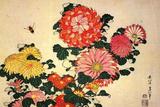 Katsushika Hokusai Chrysanthemums and a Bee Plastic Sign Plastikschild von Katsushika Hokusai