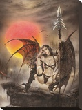 Black Tinkerbell Stretched Canvas Print by Luis Royo