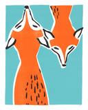 Friendly Foxes Serigraph by  Print Mafia