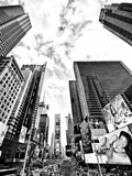 Landscape of Times Square, NYC, Skyscrapers View, Manhattan, NYC, USA, Black and White Photography Fotoprint av Philippe Hugonnard