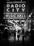 Urban Scene, Radio City Music Hall by Night, Manhattan, Times Square, New York, White Frame Fotoprint van Philippe Hugonnard