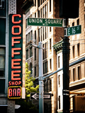 Coffee Shop Bar Sign, Union Square, Manhattan, New York, United States, Vintage Colors Photographic Print by Philippe Hugonnard