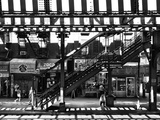 Subway Station, Williamsburg, Brooklyn, New York, United States, Black and White Photography Photographic Print by Philippe Hugonnard