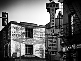 Old Shops and Stores in Philadelphia, Pennsylvania, United States, Black and White Photography Stretched Canvas Print by Philippe Hugonnard