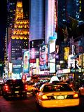 Urban Scene by Night, Times Square, Manhattan, New York City, United States Fotografie-Druck von Philippe Hugonnard