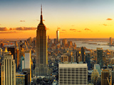 Sunset Skyscraper Landscape, Empire State Building and One World Trade Center, Manhattan, New York Fotografisk trykk av Philippe Hugonnard