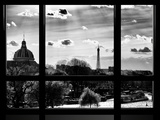 Window View, Special Series, Eiffel Tower and Seine River View at Sunset, Paris Fotografisk tryk af Philippe Hugonnard