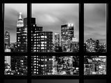 Window View, Empire State Building and New Yorker Hotel Views by Night, Times Square, NYC Photographic Print by Philippe Hugonnard