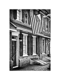 Front of House with an American Flag, Philadelphia, Pennsylvania, US, White Frame Photographic Print by Philippe Hugonnard