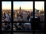 Window View, Skyline at Sunset, Midtown Manhattan, Hudson River, New York Reproduction photographique par Philippe Hugonnard