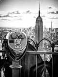 Telescope on the Obervatoire Deck, Top on the Rock at Rockefeller Center, Manhattan, New York Premium fotoprint van Philippe Hugonnard