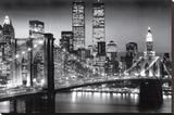 New York Manhattan Black Sträckt kanvastryck av Richard Berenholtz