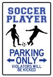 Soccer Player Parking Only Sign Poster Láminas