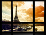 Window View, Special Series, Eiffel Tower and the Seine River at Sunset, Paris, France, Europe Reproduction photographique par Philippe Hugonnard