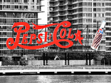 Pepsi Cola Bottling Sign, Long Island City, New York, United States, Black and White Photography Valokuvavedos tekijänä Philippe Hugonnard