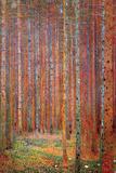 Dennenwoud Poster van Gustav Klimt