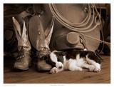 Cowboy Puppy Sepia Poster by Robert Dawson