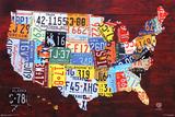 License Plate Karte von the Vereinigten Staaten (USA) Poster