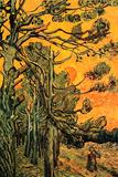 Vincent Van Gogh Pine Trees against a Red Sky with Setting Sun Plastic Sign Cartel de plástico por Vincent van Gogh
