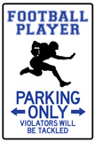 Football Player Parking Only Plastic Sign Placa de plástico
