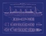 Titanic Blueprint I Impressão fotográfica por  The Vintage Collection