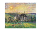 Landscape at Eragny with Church and Farm Plakater af Camille Pissarro