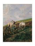 Ploughing Láminas por Giovanni Fattori