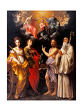 Coronation of the Virgin with Four Saints Posters por Guido Reni