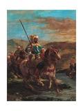 Moroccan Horsemen Crossing a Ford Posters par Eugene Delacroix