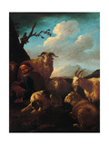 Shepherd with Animals Poster af , Rosa da Tivoli