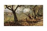 Among the Olive Trees Affiche par Telemaco Signorini