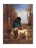Game Keeper Stops Near His Dogs Print by Constant Troyon