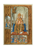 Pope, miniature painting in the Grimani Breviary, a Flemish illuminated manuscript. 1520. Venice. Prints by  multiple