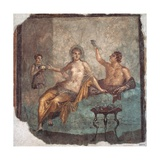 Banquet scene, Roman wall painting, from Herculaneum, 62-79 A.D. Archaeological Museum, Naples Prints