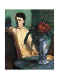 Woman Seated beside a Vase of Flowers Kunstdrucke von Edgar Degas