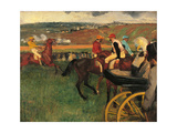 Racecourse, Amateur Jockeys Near a Carriage Premium Giclee-trykk av Edgar Degas