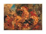 Lion Hunt, study Plakater af Eugene Delacroix