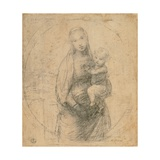 Drawing, Madonna and Child at two thirds figure Posters tekijänä Raphael,