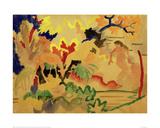 Three Nudes with Deer at Waters Edge Giclée-tryk af Auguste Macke