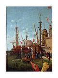 The Departure of the Pilgrims, Detail from the Meeting of Etherius and Ursula and the Departure… Giclée-tryk af Vittore Carpaccio
