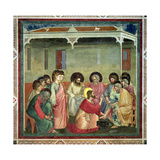Christ Washing the Disciples' Feet, c.1305 (Post Restoration) Giclée-tryk af  Giotto di Bondone