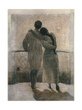 Young Couple, Central Panel from the Dream and Reality Triptych, 1905 Giclee Print by Angelo Morbelli