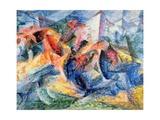 Horse and Rider and Buildings, 1914 Giclee-trykk av Umberto Boccioni