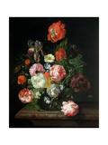 Flower in a Glass Vase Giclee-trykk av Rachel Ruysch